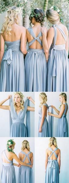 Convertible Simple Blue Jersey High Quality Handmade Custom Make Floor-Length Cheap Bridesmaid Dresses, WG80
