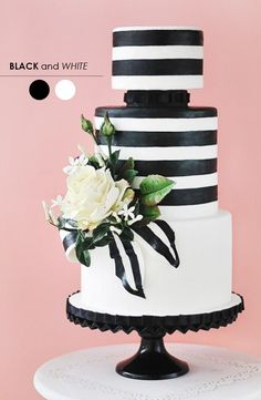 Tartas de boda - Wedding Cake - Black and white wedding cake by Anna Elizabeth Cakes Naked Wedding Cake, Pretty Wedding Cakes, Wedding Cake Designs, Pretty Cakes, Black White Cakes, Black And White Wedding Cake, White Wedding Cakes, Striped Wedding, Cappuccino Torte