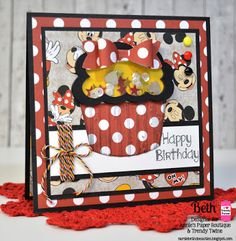 Beth's Beauties: Trendy Twine ~ Happy Birthday Minnie Mouse cupcake shaker card using Celebration Trendy Twine and the APB Smile stamp set