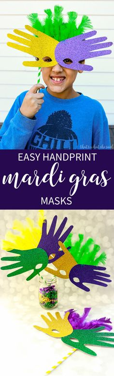 These fun Handprint Mardi Gras Masks are a great way to let the kids get in the Mardi Gras spirit helping make their own masks!  Perfect for parades & parties!  You only need a few craft supplies!