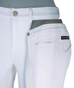 Kentucky Strasse Breech with beautiful crystal/satin accents. Softshell Schoeller fabric, brown and sahara.