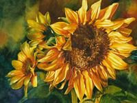 "Watercolor painting of sunflowers by artist Lisa Hill titled ""October Glory"""