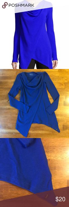 Andrew Marc Asymmetric Long Sleeve Tunic Small New without tags?m, beautiful royal blue performance tunic.   Cowl neck and Long sleeves Gorgeous knit fabric Asymmetrical wrap-style front with Diagonal bottom hem Great for lounging, shopping, or working out Weight sewn into the inside of the cowl flap to prevent it from flipping inside out Andrew Marc Tops Tunics