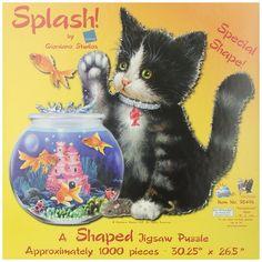 Sunsout Puzzles 1000 Piece Puzzles Kitten Fish Bowl Shaped Jigsaw Puzzles New #SunsOut