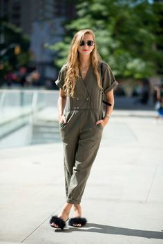 Annie Georgia Greenberg You wouldn't think that describing an outfit as Top Gun meets Marilyn Monroe would be appealing, but this combo of military-green jumpsuit and fluffy mules works.  Photo: I'M KOO
