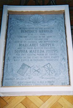 """Grave Marker- Benedict Arnold, Revolutionary War general. Arnold was buried at St. Mary's Church, Battersea in London, England. As a result of a clerical error in the parish records, his remains were removed to an unmarked mass grave during church renovations a century later. His funeral procession boasted """"seven mourning coaches and four state carriages""""; the funeral was without military honors. #famousgraves"""