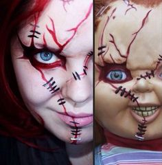 Chucky makeup i refuse to let the boys be cute for halloween anymore. As of last year. Only scary stuff from now on.