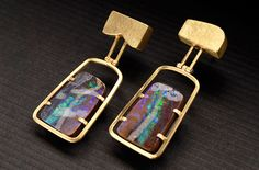 Barbara Christie - 18ct yellow gold box shaped, framed, hinged boulder opal earrings.  If you like it please repin, like and/or add a comment. Thanks    Source: barbarachristie.com    20130121 18:03