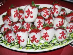 "Alabama ""A"" strawberries for the groom's table! Too cute!"