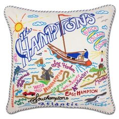 Hamptons Hand-Embroidered Pillow by Catstudio From Montauk to Westhampton Beach - this original design celebrates The Hamptons, New York in exquisite detail. This pillow is entirely HAND embroidered on light tea-colored organic cotton. Die Hamptons, Hamptons New York, Westhampton Beach, Embroidered Cushions, Inspirational Gifts, Decoration, Decorative Throw Pillows, Special Gifts, Handmade