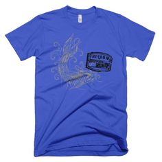 Catfish with Freedom Stamp Fishing Unisex Tee Mens or Womens Short Sleeve T-shirt 100% Cotton American Apparel tshirt