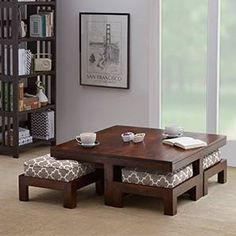 Kivaha 4-Seater Coffee Table Set (Walnut Finish, Morocco Lattice Beige) by Urban Ladder