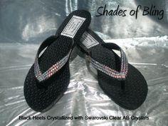 Black Victorias Secret Heeled Thong Shoes by ShadesOfBling on Etsy, $89.95
