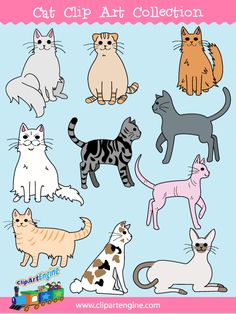 Our Cat Clip Art Collection is a set of royalty free vector graphics that includes a personal and commercial use license.