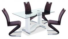 Kingsway Dining Set is sure to offer a different look for your dining room. With a clear glass top table, high gloss pedestal and stainless steel base this table sets it apart from most others. The chairs are available in a choice of Black, Brown, Cream, Red and White - http://www.furn-on.com/kingsway-high-gloss-dining-set.html