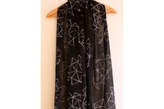 Black and white hand block printed trapeze Indian cotton scarf/shawl by Kerry Cherry Designs and Prints Scatter Cushions, Cotton Scarf, Shawl, Cherry, Indian, Black And White, Printed, Cover, Handmade