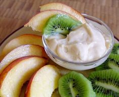 "Bailey's Irish Cream Fruit Dip: ""Different from the regular cream cheese-based dips, this is lighter and creamier. Serve with fresh fruit slices and squares of pound cake or angel food cake."" -~Leslie~"