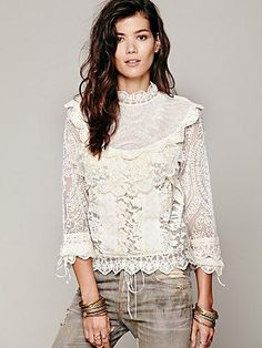 Free People FP New Romantics High Neck Victorian Top- @Kailee Riches you need this shirt.... but I'm sure you'll find one at a thrift store much more reasonably priced;)