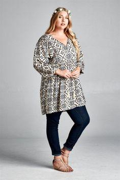 Plus Size Tops/Tunics Peasant Blouse, Peasant Tops, Tunic Tops, Ikat Print, Stripe Print, Green Tops, Pink Tops, Blue Jay Way, Black Tunic