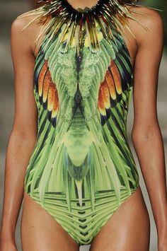 Not bikini ready? This tropical print one piece is anything but boring. Swimsuits, Bikinis, Swimwear, Safari Chic, Glamour, High Fashion, Womens Fashion, Green Fashion, The Bikini