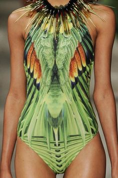 pool parties, fashion, color, swimsuit, bird prints, jungl, digital prints, feather, shades of green