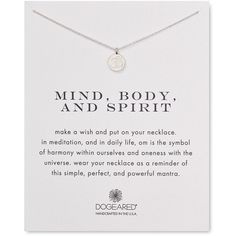 "Dogeared Mind Body Spirit Necklace, 18"" ($48) ❤ liked on Polyvore featuring jewelry, necklaces, fillers, silver, peace jewelry, peace sign pendant necklace, silver necklace, silver jewelry and peace sign jewelry"