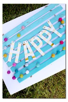 DIY Foiled Happy Banner from MichaelsMakers Sugar Bee Crafts
