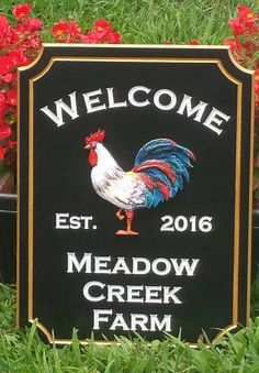 House Address PVC Board Outdoor Front Porch 3 D Rooster #Rooster #Farm