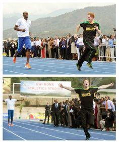 Royal race - Harry vs Bolt (usain bolt,prince harry,run,jamaica,ol,fastest man)