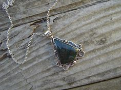 Sterling silver necklace with a beautiful bloodstone. $110.00, via Etsy.