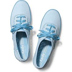 Keds Champion Heather Perf featuring polyvore, fashion, shoes, sneakers, blue, perforated shoes, canvas sneakers, canvas lace up sneakers, lace up shoes and laced up shoes