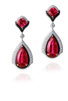 Modern Art Deco紅碧璽耳環
