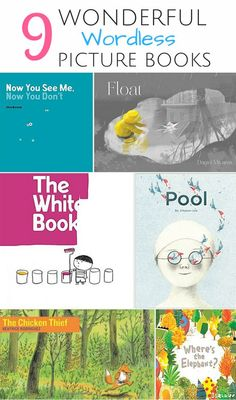 9 Wonderful Wordless Picture Books That Inspire Imagination in Kids. Beautiful illustrated picture books that require no words and open up creative interpretation from children.