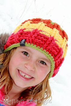 CROCHET PATTERN Avalanche Beanie Child por PlayinHookyDesigns