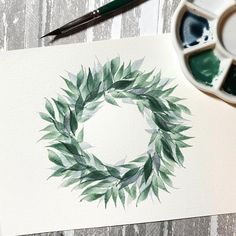 Some days all you need is a little green paint & a triangle brush ☺️ This wreath is really pretty easy to make. It's the same brush stroke layered over each other, as you move clockwise, or counterclockwise, around the wreath, allowing a little drying time in between layers. . Paints used: Winsor & Newton Terre Verte, Perylene Green, and a little Indigo mixed with Neutral Tint. Start with your lightest color and build it up with the darker ones. I could add some red berries and maybe some…