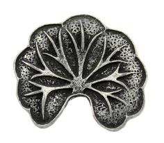 Lotus Lotus Leaf Antique Silver Metal Shank Buttons - 23mm - 7/8 inch