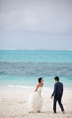 Beach bride and groom.