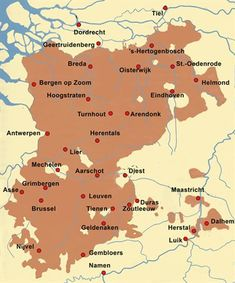 De bezittingen van het hertogdom Brabant omstreeks 1250. Holland Map, European Map, Kingdom Of The Netherlands, Old Maps, Historical Maps, World History, Ancestry, Science Nature, Archaeology