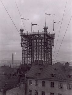 """""""Telephone Tower"""" in Stockholm. This was one of the main telephone junctions in Stockholm between 1887-1913. About 5000 telephone lines were connected here."""