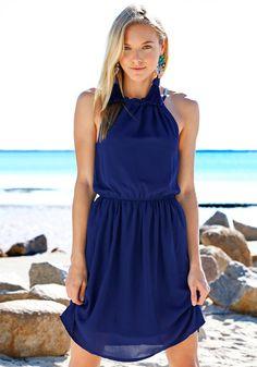 Navy Pleated Flowy Dress