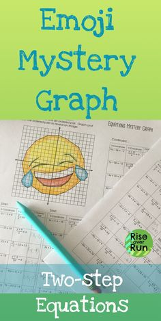Students will love this activity! Two step equations practice! Solutions create a mystery laughing emoji graph. Includes distributing and the 4 operations. Fun activity to work on simple equations. Great for grade math, grade math, of Algebra Algebra Projects, Fun Math Activities, Math Resources, Math Games, Math Worksheets, Math Teacher, Math Classroom, Teaching Math, Teacher Stuff