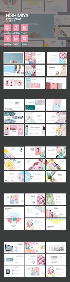 NISHIMIYA is a multipurpose POWERPOINT template that can be used for any type of presentation: business, portfolio, corporate, branding, advertising etc. Design by Rits Studio on CreativeMarket. Web Design, Slide Design, Book Design, Layout Design, Powerpoint Presentation Templates, Keynote Template, Template Power Point, Design Presentation, Portfolio Presentation