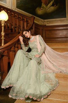 Georgette Pakistani Suit In Green Colour <br> This Exclusive Pakistani Suit Is An Ultimate Party Wear Collection With The Mesmerizing Colours Of Green With The Artistic Embridery , Leave No Stone Unturned And Be At Your Fashionable Best. Pakistani Fashion Party Wear, Pakistani Wedding Outfits, Indian Fashion Dresses, Pakistani Dress Design, Bridal Outfits, Pakistani Dresses, Indian Outfits, Pakistani Garara, Pakistani Designer Suits