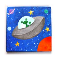 FLYING SAUCER Wall Art for Boys room,12x12 acrylic canvas, painting for kids