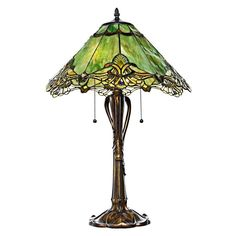 This Tiffany Style table lamp features sea green stained glass that will complement your unique and classic style. The crystal lace table lamp echoes the beauty and majesty of the forest.