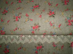 """Купить Ткань полульняная """"Букетики"""", ширина 150 см - ткань лен, льняная ткань, бежевый"""