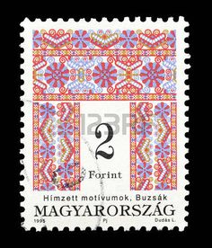 postage stamp: Cancelled postage stamp printed by Hungary, that shows Folk motive, circa 1995. Editorial