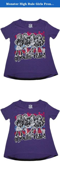 Monster High Rule Girls Front and Back T-shirt (XL (14/16)). Monster High Ghouls Rule Girls T-shirt. Cleo De Nile, Frankie Stein, Draculaura, Ghoulia Yelps. Grape 100% Cotton Girls Shirt. Front and Back Designs.