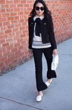 poshclassymom-coco-chanel-tweed-jacket-hm-crochet-lace-top-elizabeth-and-james-flare-hem-pants-chanel-loafers-2.55-medium-bag-modern-trosers (4)