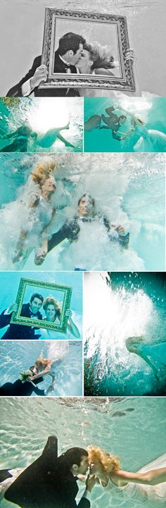 Super cute underwater engagement photos